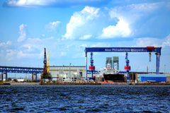 Werft-Schiffs-Reparatur-Boots-Yard Aker Philadelphia Stockbild