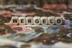 Wergeld - κύβος με τις επιστολές, σημάδι με τους ξύλινους κύβους Στοκ Εικόνες