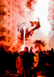 Werk Beeltenissen als dit uit worden gebrand tijdens de jaarlijkse Viering van Las Fallas, Valencia, Spanje royalty-vrije stock afbeeldingen