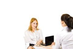 Werk gesprek Stock Fotografie