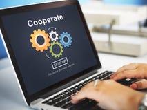 Werk Samenwerking Team Cog Technology Concept samen stock afbeeldingen