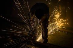 Werk in uitvoering dat staal malen royalty-vrije stock foto's