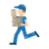 werk van de de leverings het lopende doos van de tekeningsmens Stock Foto