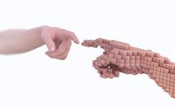 Werkelijkheid versus simulatie Stock Foto