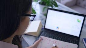 Werkend aan project, schrijft de onderneemster die laptop met behulp van en nota's met teller in notitieboekje met grafiek stock video