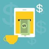 Werkend en Makend geld online thuis Stock Afbeelding