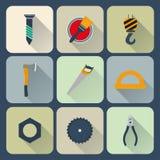 Werkende geplaatste hulpmiddelenpictogrammen Stock Foto's