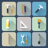 Werkende geplaatste hulpmiddelenpictogrammen Stock Afbeelding