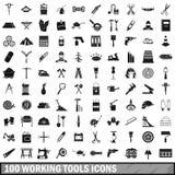 100 werkende geplaatste hulpmiddelenpictogrammen, eenvoudige stijl Stock Fotografie