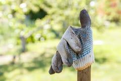 Werkende handschoen op de achtergrond van de tuin Stock Foto's
