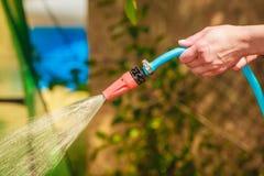 Werkende het water geven tuin van slang stock afbeeldingen