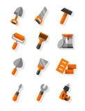 Werkende hulpmiddelen voor bouw en onderhouds vlakke geplaatste pictogrammen Stock Afbeelding