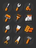 Werkende hulpmiddelen voor bouw en reparatie vlakke geplaatste pictogrammen Stock Afbeelding