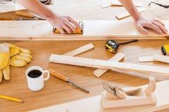 Werkende hulpmiddelen voor timmerman Stock Foto