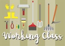 Werkende hulpmiddelen zoals oneffenheid, schop, verfborstel en meer royalty-vrije illustratie