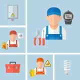 Werkende mannelijke elektricien met elektrohulpmiddelen stock illustratie