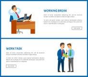 Werkende Onderbreking, Chef- Resting in Bureau, Taakgegevens vector illustratie