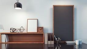 Werkende ruimte & het moderne bureau binnenlandse/3D teruggeven royalty-vrije illustratie
