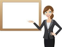 Werkende vrouw met presentatieraad Stock Foto