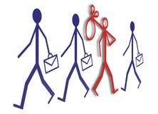 Werkgelegenheid en werkloosheid: werkloos baanonderzoek - conceptenbeeld op witte achtergrond royalty-vrije illustratie