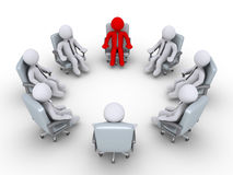 Werkgever en zakenlieden die in een cirkel zitten Stock Afbeeldingen