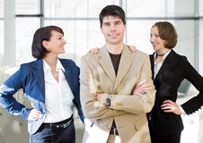 Werkgever met vrouw-team royalty-vrije stock foto's