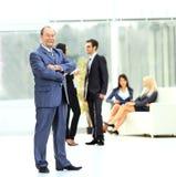 Werkgever op de achtergrond van commercieel team Stock Afbeelding