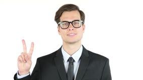 werkgever tevreden met zijn winst, inkomen, inkomens, Victory Sign stock video