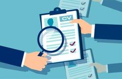 Werkgeverszakenman die sollicitaties onderzoeken vector illustratie