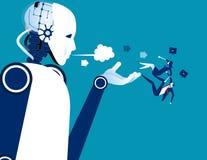 werkloos Robot in plaats van mensen Concepten bedrijfstechnologie vectorillustratie royalty-vrije illustratie
