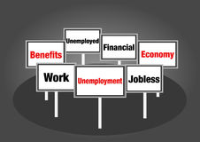 Werkloosheidstekens Royalty-vrije Stock Foto