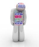 Werkloze Person Sad Fired Jobless Wants-Baan stock illustratie