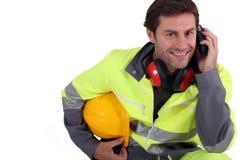 Werkman in beschermend toestel royalty-vrije stock foto