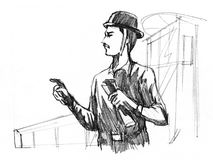 Werkman bij bouwwerf royalty-vrije illustratie