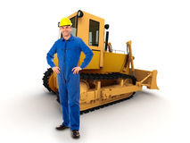 Werkman en bulldozer Stock Foto