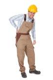 Werkman met een rugletsel Stock Foto