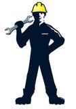 Werkman met moersleutel of moersleutel Stock Afbeelding