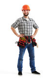 Werkman in oranje bouwvakker Stock Fotografie