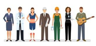 Werknemer en arbeiderskarakters die zich samen met arts, ingenieur en musicus bevinden Groep van zeven mensen royalty-vrije illustratie
