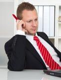 Werknemer zonder wens te werken stock foto