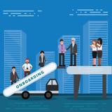 Werknemers die concept onboarding U-managers die nieuwe arbeiders inhuren voor royalty-vrije illustratie
