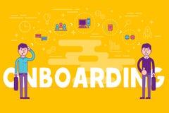 Werknemers die concept onboarding U-managers die nieuwe arbeiders inhuren voor vector illustratie