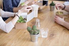 Werknemers die lunch samen eten stock foto's
