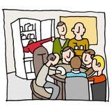 Werknemers in een overvolle onderbrekingsruimte Stock Afbeeldingen