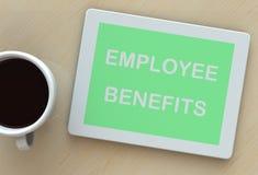 WERKNEMERSvoordelen, bericht op tablet en koffie Royalty-vrije Stock Afbeeldingen