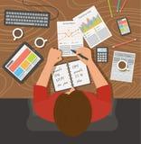 Werkplaats, bureau Het bedrijfsvrouw werken Stock Foto