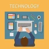 Werkplaats, bureau IT technologie en Web Stock Fotografie