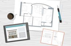 Werkplaats - de technische blauwdruk van het het huisplan van de projectarchitect De achtergrond van de bouw royalty-vrije illustratie