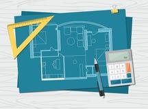 Werkplaats - de technische blauwdruk van het het huisplan van de projectarchitect De achtergrond van de bouw stock illustratie