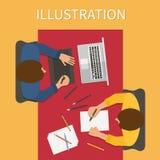 Werkplaats, digitaal illustratieproces Laptop Royalty-vrije Stock Afbeeldingen